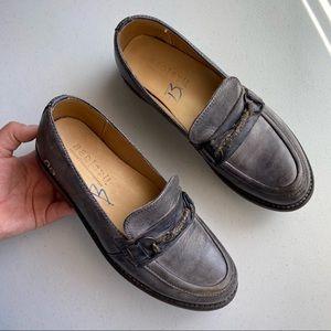 Bed Stu Grey Distress Leather Slip-on Penny Loafer
